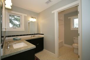 Modern Full Bathroom with Capital Lighting Fifth Avenue 2 Light Bath Vanity Light, Undermount sink, tiled wall showerbath