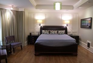 Contemporary Guest Bedroom with bedroom reading light, Hardwood floors, can lights, High ceiling, Wainscotting, Pendant light