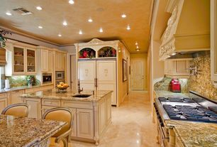Traditional Kitchen with One-wall, Ms international azurite granite counter, Vinyl floors, Custom hood, Built-in bookshelf