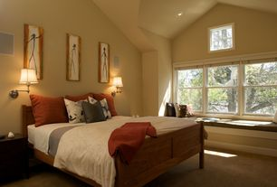 Modern Guest Bedroom with can lights, Casement, picture window, High ceiling, Carpet, Window seat