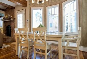Craftsman Dining Room with Chandelier, Hardwood floors