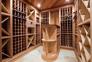 Traditional Wine Cellar with Crown molding, slate floors