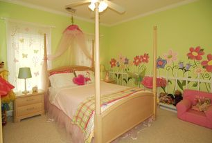 Country Kids Bedroom with no bedroom feature, Standard height, Carpet, Crown molding, Casement