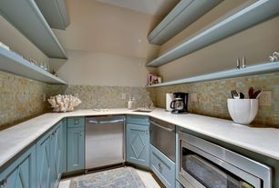 Contemporary Pantry with built-in microwave, full backsplash, Penny Tile, Concrete floors, Inset cabinets, dishwasher, Galley