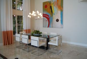Contemporary Dining Room with Chandelier, High ceiling, simple marble floors