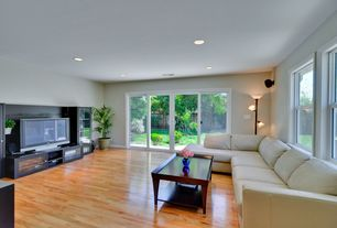 Contemporary Living Room with French doors, Hardwood floors, Hand scraped maple sedona hardwood flooring