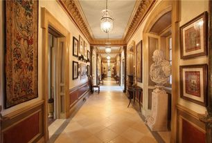 Traditional Hallway with Pendant light, High ceiling
