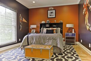 Contemporary Guest Bedroom with specialty window, Crown molding, Standard height, can lights, Carpet, Laminate floors