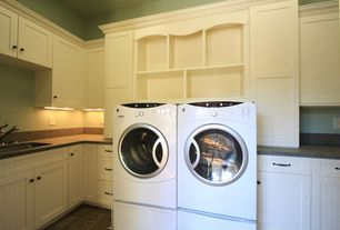 Traditional Laundry Room with Built-in bookshelf, Crown molding, Undermount sink