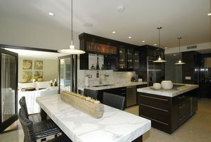 Traditional Kitchen with Kitchen island, Glass panel door, Standard height, European Cabinets, double bowl undermount sink