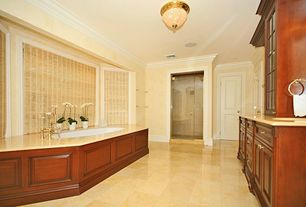 Traditional Full Bathroom with Vinyl floors, Crown molding, flush light, frameless showerdoor, Simple marble counters