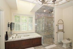 Traditional 3/4 Bathroom with Custom shower, Pedestal sink, Chandelier, Bidet, Rain shower, classical bidet, Jetted