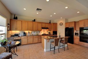 Traditional Kitchen with Breakfast nook, Large Ceramic Tile, Kitchen island, Custom hood, Undermount sink, Flush, L-shaped