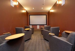 Contemporary Home Theater with Striped wall-to-wall carpet, Wall sconce, Carpet