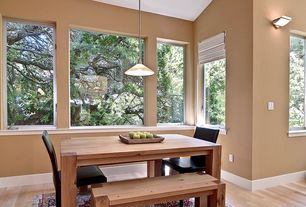 "Transitional Dining Room with Carpet, Wall sconce, Crate & Barrel Big Sur Natural 65"" Dining Table, Pendant light"
