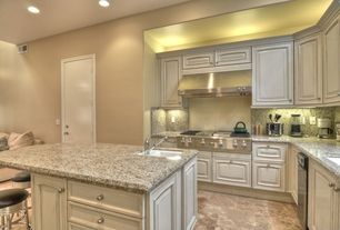 Traditional Kitchen with six panel door, dishwasher, Simple granite counters, Undermount sink, Simple Granite, Wall Hood