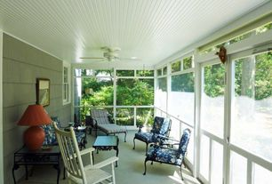Eclectic Porch with exterior tile floors, Screened porch, French doors, Sun room