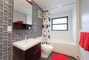 Contemporary Full Bathroom with shower bath combo, Flush, drop in bathtub, wall-mounted above mirror bathroom light, Bathtub