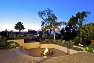 Contemporary Patio with Fence, Fire pit, exterior stone floors
