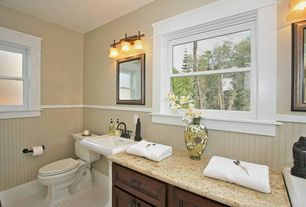 Cottage Full Bathroom with Powder room, Memoirs 24 in. Pedestal Sink Basin in White, Amber yellow, Wainscotting