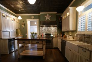 Traditional Kitchen with Glass panel, Farmhouse sink, Hardwood floors, U-shaped, Paint1, Simple Granite, Wine refrigerator