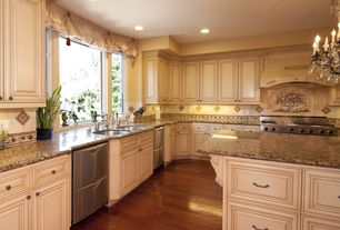 Traditional Kitchen with Undermount sink, High ceiling, Kitchen island, Large Ceramic Tile, Laminate floors, L-shaped