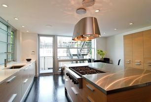 Contemporary Kitchen with Glass panel door, European Cabinets, Pendant light, Stainless steel counters, Hardwood floors