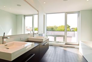 Contemporary Master Bathroom with can lights, Freestanding, Standard height, French doors, Master bathroom, Vessel sink