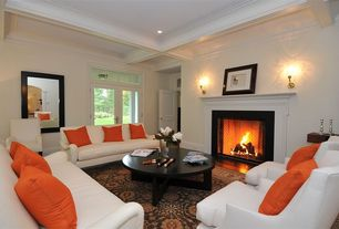 Traditional Living Room with Transom window, Saturna silk brilliant orange pillow, French doors, Carpet, Box ceiling