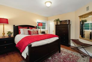 Traditional Guest Bedroom with flush light, Hardwood floors