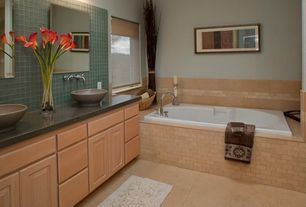 Modern Full Bathroom with Daltile - jurastone beige 18 in. x 18 in. natural stone floor and wall tile, Soapstone counters