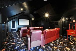Eclectic Home Theater with Carpet