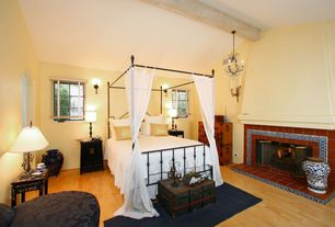 Eclectic Guest Bedroom with Casement, Laminate floors, other fireplace, Fireplace, Standard height, bedroom reading light