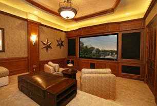 Traditional Home Theater with High ceiling, Pendant light, Wall sconce, Wainscotting, interior wallpaper, Carpet, can lights