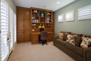 Craftsman Home Office with can lights, Carpet, Built-in bookshelf, six panel door, Casement, Standard height
