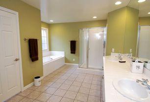 Modern 3/4 Bathroom with Rain shower, Daltile brancacci - aria ivory, Built-in bookshelf, Subway Tile, Daltile liners
