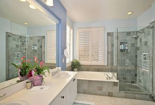 """Cottage Full Bathroom with Concrete floors, Simple Marble, Kohler Bryant Oval Self-Rimming Lavatory with 4"""" Centers, Pait"""