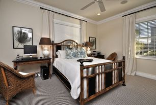 Modern Guest Bedroom with Crown molding, Carpet, Ceiling fan