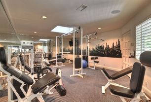 Modern Home Gym with Carpet, Paris skyline wall graphic wall decal wall sticker, Interior plantation shutters, specialty door