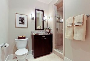3/4 Bathroom with Complex marble counters, Flat panel cabinets, Paint, drop-in sink, Shower head, Shower, Wall sconce, Flush