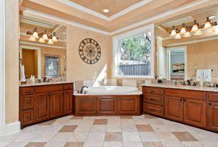 Traditional Full Bathroom with Master bathroom, drop in bathtub, Bathtub, High ceiling, Framed Partial Panel, Casement