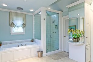 Traditional Master Bathroom with terracotta tile floors, Glass door, Crown molding, frameless showerdoor, Raised panel