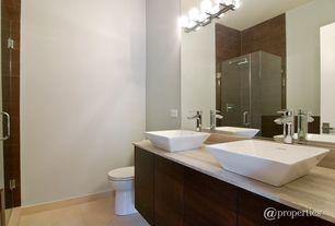 Contemporary Full Bathroom with Pental  White Grains Limestone, Frameless, Rain shower, Master bathroom, Soapstone