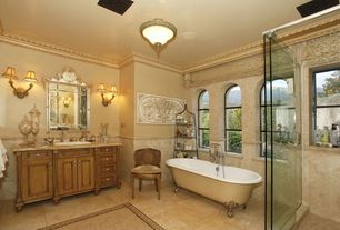 Traditional Master Bathroom with Clawfoot, Stone Tile, 5 ft. Acrylic White Ball and Claw Feet Roll Top Tub in Bisque, Paint
