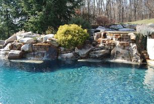 Rustic Swimming Pool with Fence, Waterfall pool feature