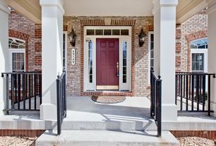 Traditional Front Door with Transom window, Arched window, exterior stone floors, Deck Railing, Casement, six panel door