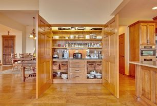 Contemporary Pantry with Built-in bookshelf, French doors, Hardwood floors
