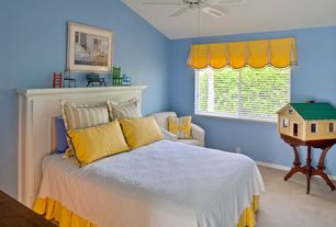 Eclectic Kids Bedroom with Carpet, Ceiling fan