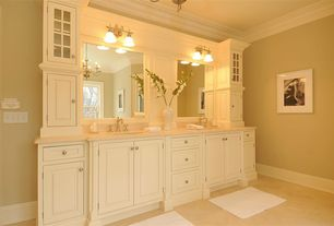 Traditional Full Bathroom with Inset cabinets, Signature hardware victorian widespread bathroom faucet - cross handles, Paint