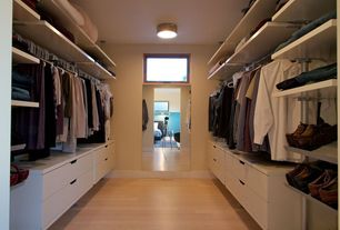 Contemporary Closet with Built-in bookshelf, Horizontal natural bamboo flooring, Transom window, Hardwood floors, flush light